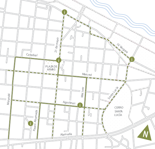 Mapa Plan Camina Santiago. Fuente: Sitio de la campaña Mira tu Entorno.