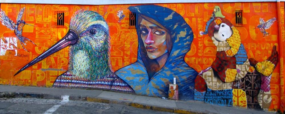 Mural de Inti, La Robot de Madera y Chaquipunk en subida Cumming. © La Mala Testa, vía Flickr.
