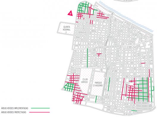 Áreas verdes implementadas y proyectadas. Fuente: Plan Integral de Movilidad