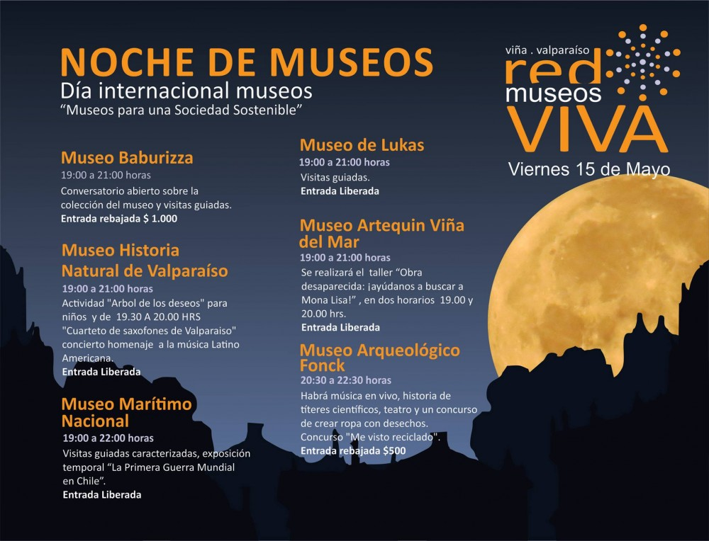 afiche noche de museos vina del mar valparaiso