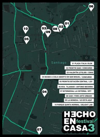 Ubicación de las intervenciones urbanas para Hecho en Casa 3.
