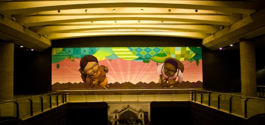 Mural de Cekis en la estación de metro Quinta Normal. Santiago de Chile.