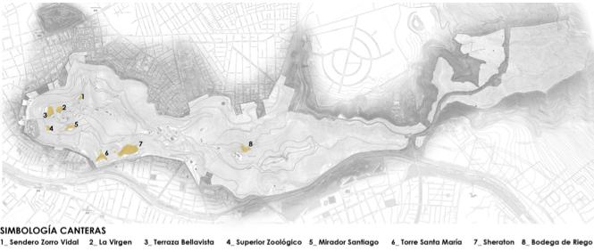 Imagen 1. Ubicación de las principales canteras del Parque. Fuente: Parquemet
