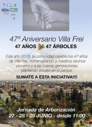 flyer jornada de arborizacion 47 aniversario villa frei zona tipica