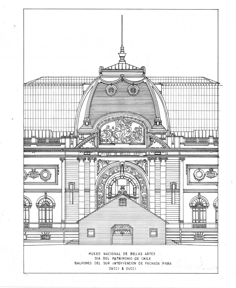Elevación principal. Imagen cortesía de Héctor Ducci y Nicolás Ducci, vía Plataforma Arquitectura.