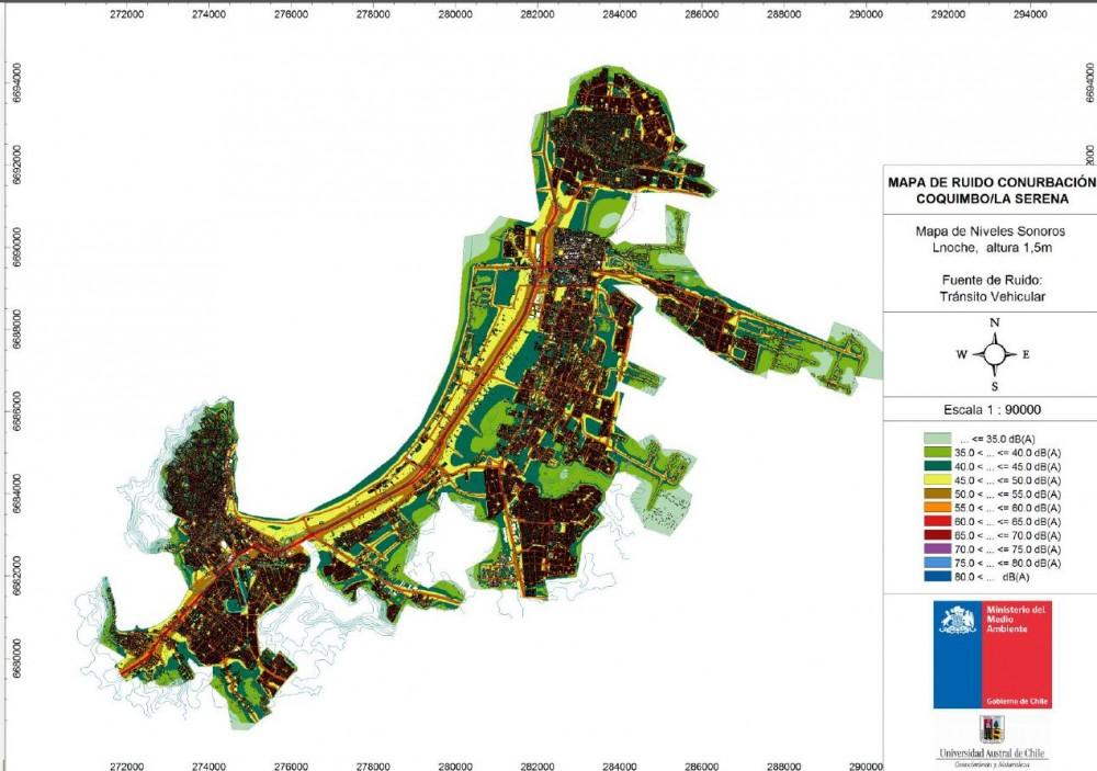 Mapa de ruido conurbación La Serena-Coquimbo.