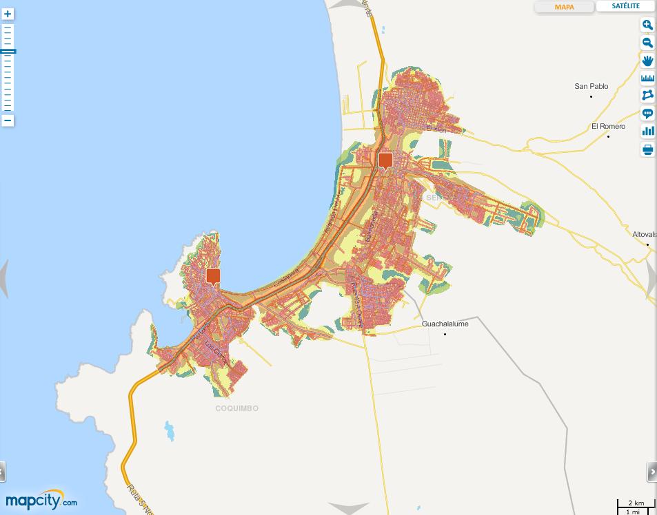 Mapa de Ruido de Coquimbo-La Serena en Mapcity.