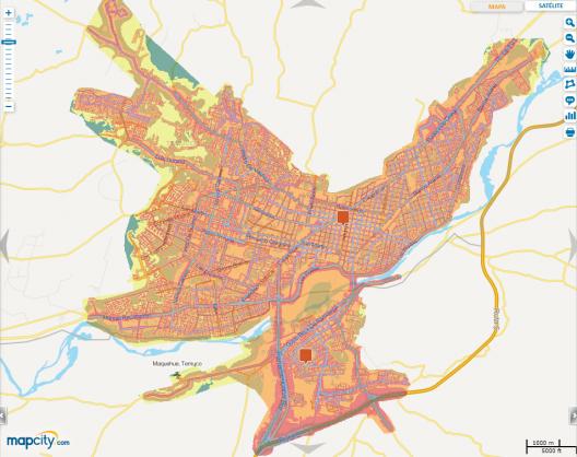 Mapa de ruido de la conurbación Temuco-Padre Las Casas. Fuente: Mapcity.