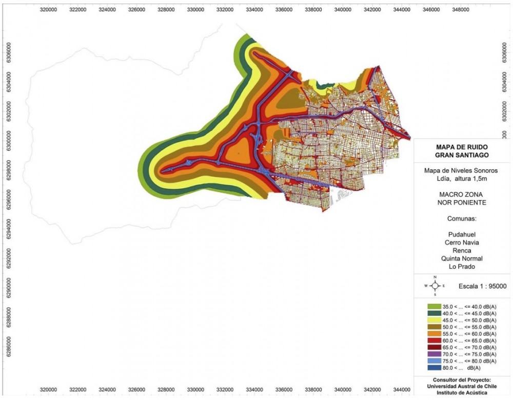 Mapa de Ruido Zona Norponiente del Gran Santiago. Fuente: MMA e Instituto de Acústica de la UAch.