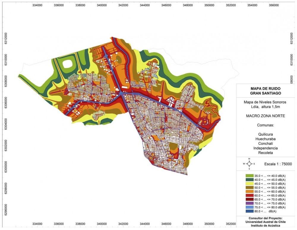 Mapa de Ruido Zona Norte Gran Santiago. Fuente: MMA e Instituto de Acústica de la UAch.