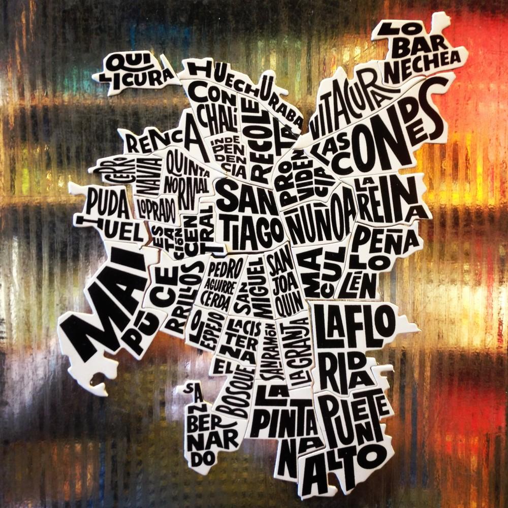 """Mapa de Santiago de la serie """"Santiago de Chile"""" hecha por Kaikai. Cortesía @santiagoadicto."""