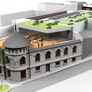 Vista de la cubierta del edificio y terraza de la cafetería. Fuente imagen: Ministerio de Bienes Nacionales.