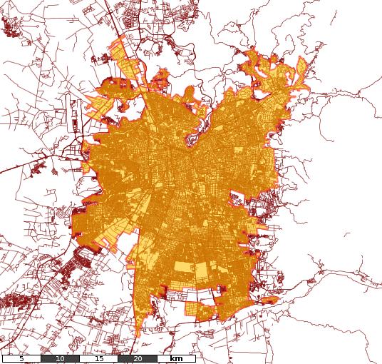 Gran Santiago, áreas urbanas y rurales. Cortesía Cedeus.