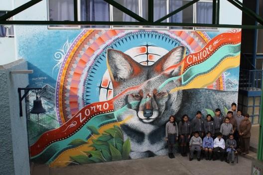 """Mural """"El Zorro"""" del proyecto Agonía Fáunica. Cortesía de Mamtástico."""