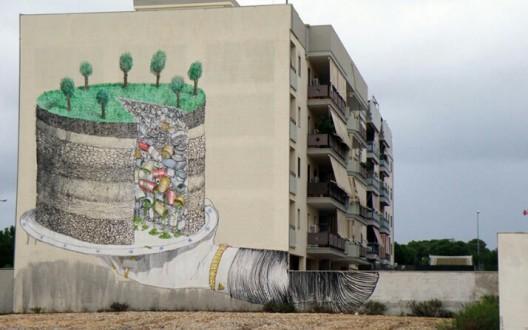 Mural de Blu en Grottaglie, Italia.