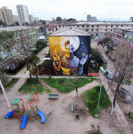 Mural Resignacion por e muralista chileno INTI Cortesia Fotos Aereas