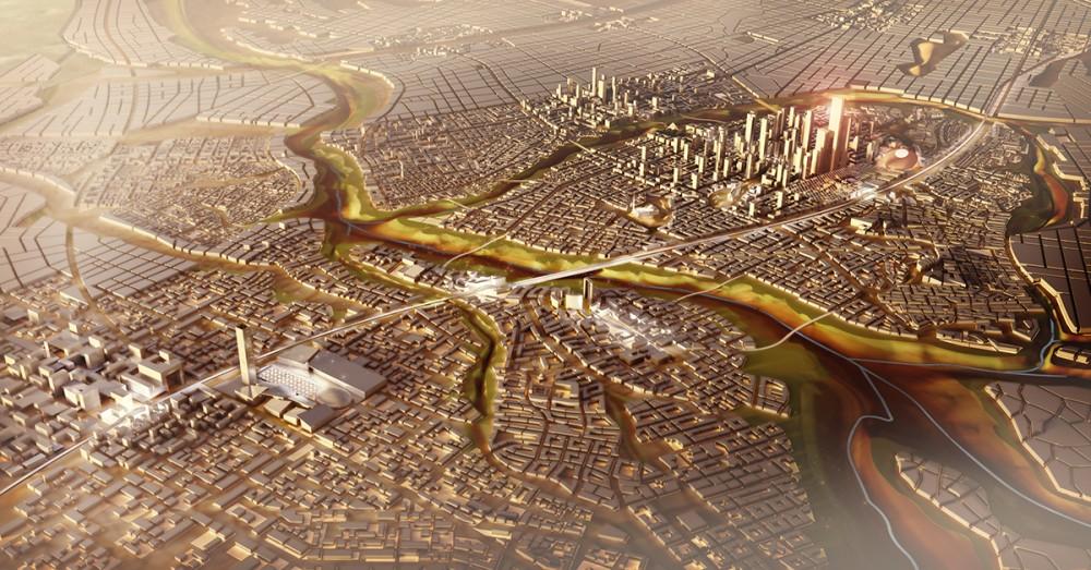 Imagen del plan para la nueva capital de Egipto, master plan de SOM. Imagen cortesía de SOM
