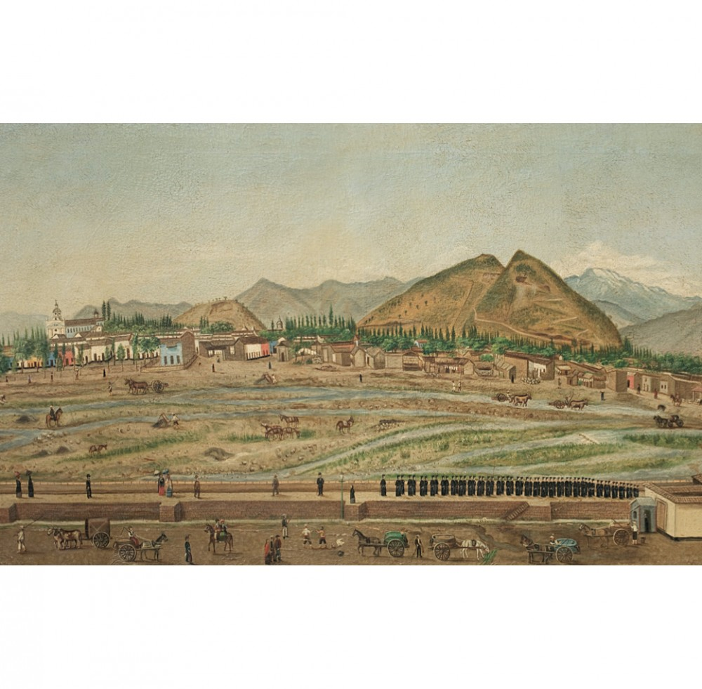 Pintura anonima_Santiago 1875_cerro San Cristobal y cerro Blanco_Libro Santiago de Chle Catorce Mil Anos Cortesia Santiago Cerros Isla