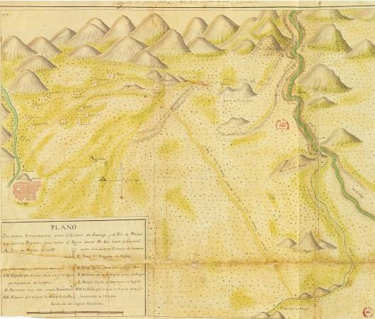 Plano de Santiago 1743_La ciudad el valle y los cerros_Archivo Biblioteca Nacional Cortesia Santiago Cerros Isla