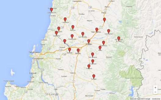 Proyecto para la creación de la Región de Ñuble. Elaborado con Google Maps.