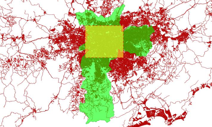 Calles de la Región Administrativa de São Paulo. Cortesía Cedeus.