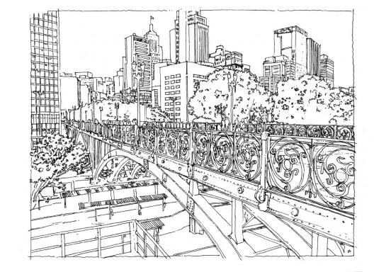 Croquis de São Paulo para colorear, por Terra Urbanismo, Plataforma