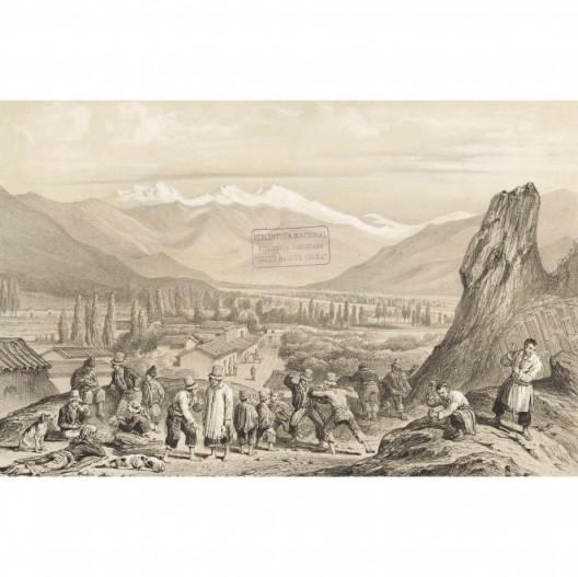 Vista del valle del mapocho desde el Cerro Santa Lucia 1854_Archivo Biblioteca Nacional_ Grabado de Claudio Gay Cortesia Santiago Cerros Isla