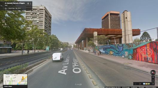 Alameda de Santiago, altura Centro Cultural Gabriela Mistral. Fuente: Google Street View