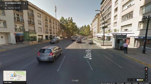 Calle José Miguel de la Barra en 2015. Fuente: Google Street View