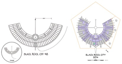 Im1. Plan de Black Rock City de 1998 y de 2014 (en distintas escalas)