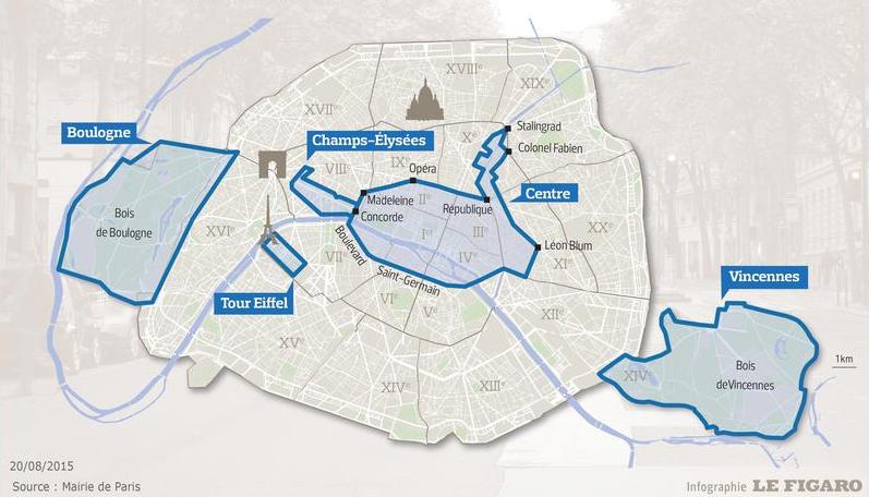 """""""París Sin Autos 2015"""". Infografía elaborada por Le Figaro con datos del Ayuntamiento de París."""