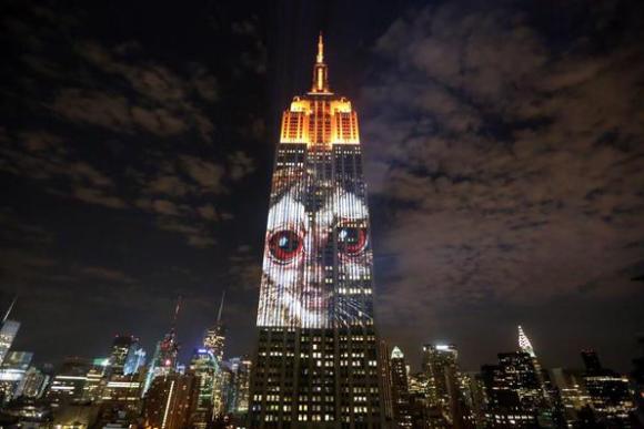 """""""Racing Extinction"""" en el Empire State Building. Foto vía @UBtalin, en Twitter."""