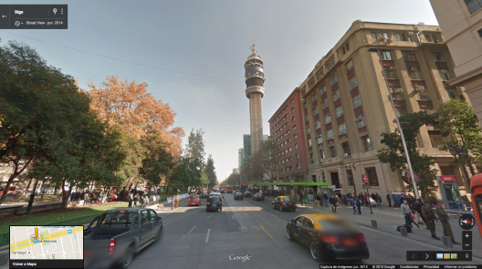 Torre Entel y estación Moneda del Metro de Santiago en 2015. Fuente: Google Street View.