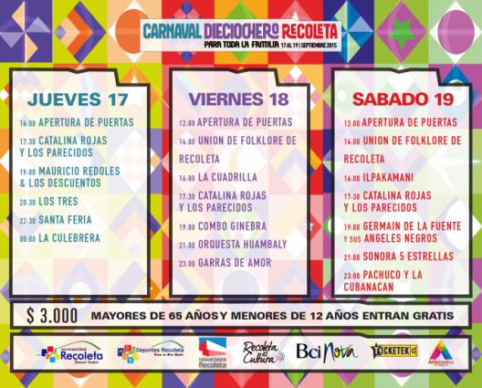 programa carnaval dieciochero 2015 recoleta