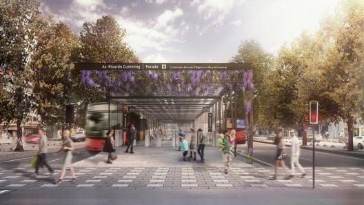 Estación de Transantiago en parque central de Alameda. Image Cortesía de Nueva Alameda Providencia