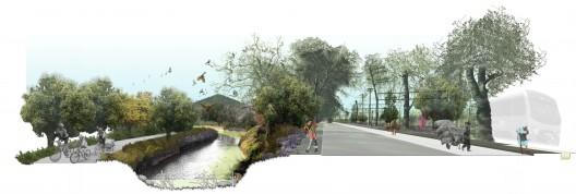 Corredores Biologicos de San Bernardo canal espejino avenida portales fotomontaje