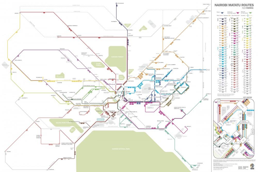 Mapa elaborado por Digital Matatus para el transporte público en Nairobi, Kenia. Disponible para descargar en www.digitalmatatus.com