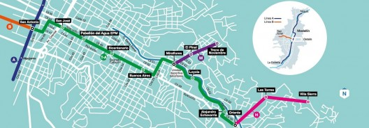 Mapa Tranvía de Ayacucho, Medellín.