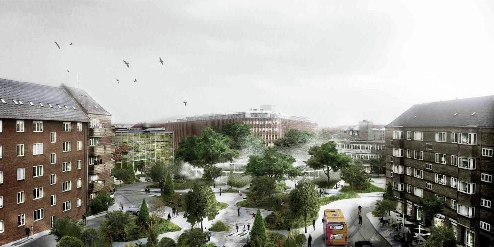 Plaza San Kjeld en el barrio homónimo. © Tredje Natur. Vía Archdaily.