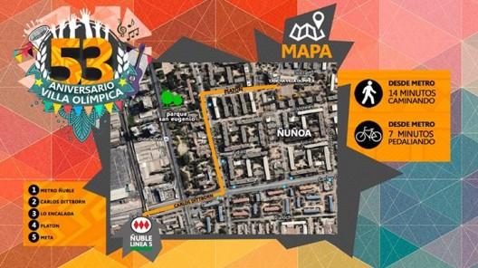 villa-olimpica nunoa aniversario 53 mapa
