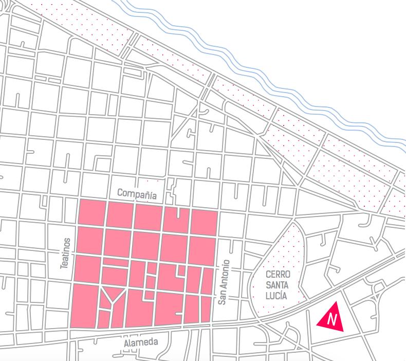 Zona Patrimonial al interior del cuadrante del Plan Centro. Fuente: Plan Integral de Movilidad, Municipalidad de Santiago.