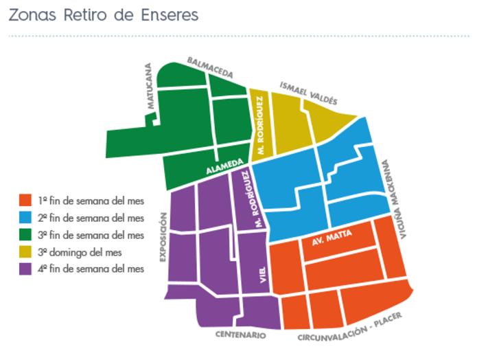 Zonas de retiro de enseres. Mapa elaborado por la Municipalidad de Santiago.