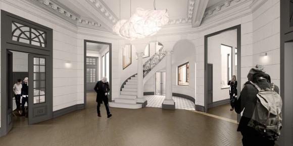 Acceso. Remodelación Palacio Álamos. © Stampaa