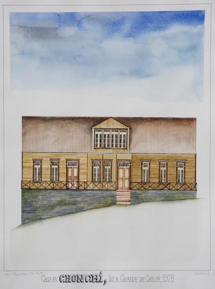 Acuarela de la Casa Álvarez por Óscar Gacitúa. Cortesía equipo Casas patrimoniales de Chonchi.