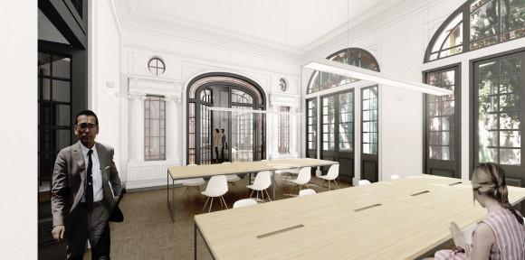 Biblioteca. Remodelación Palacio Álamos, Barrio Yungay. © Stampaa