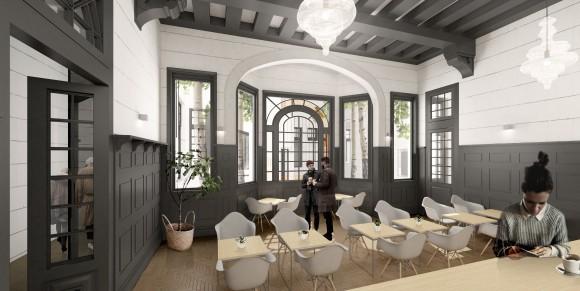 Cafetería. Remodelación Palacio Álamos, Barrio Yungay. © Stampaa