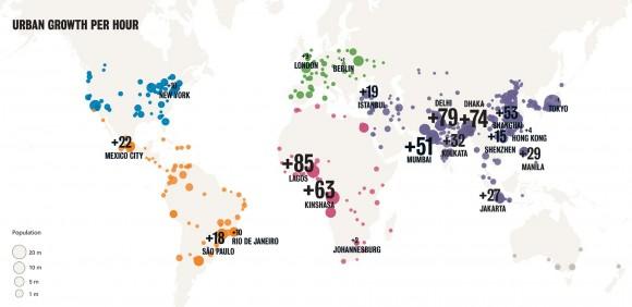 Crecimiento demográfico por hora. ©ONU