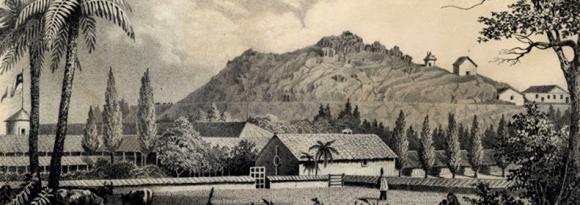 El Cerro Santa Lucía hacia 1850. Dibujo de la expedición astronómica naval norteamericana de James Melville Gilliss
