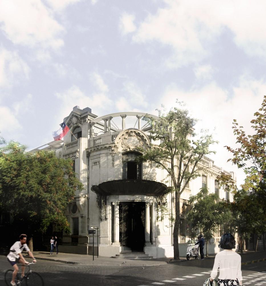 Fachada Palacio Álamos, Barrio Yungay. © Stampaa