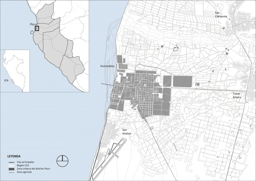 Ubicación geográfica de Pisco. Image Cortesía de Cerasil Rangel Mungi